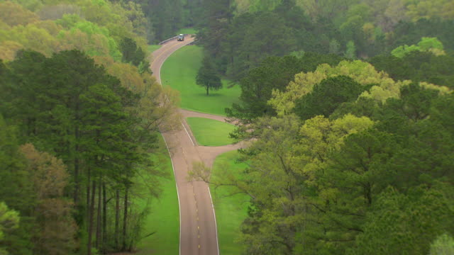 MS AERIAL Shot of road in countryside surrounded by trees and car moving on street / Natchez, Mississippi, United States