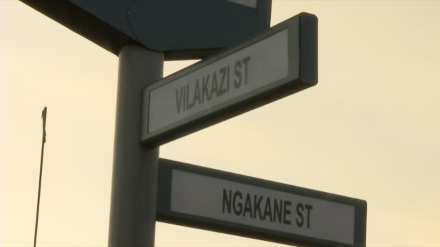 cu shot of road sign indicating vilakazi street and ngakane street / soweto, gauteng, south africa - soweto stock videos and b-roll footage