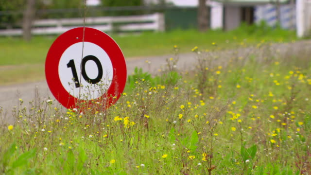 ms shot of road sign / new zealand - number 10 stock videos & royalty-free footage
