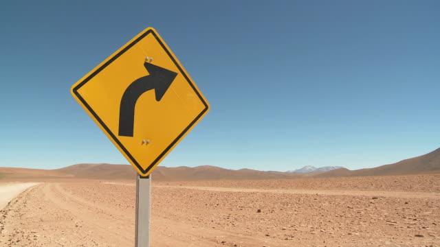 MS PAN Shot of Road sign on desert road / San Pedro de Atacama, Norte Grande, Chile