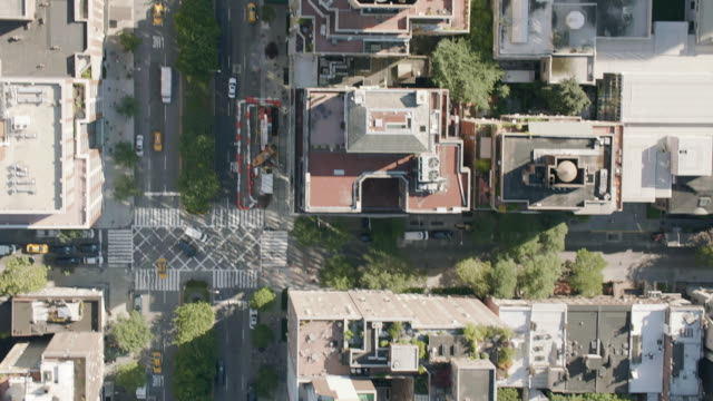 AERIAL MS Shot of roads in city with moving vehicles / New York City