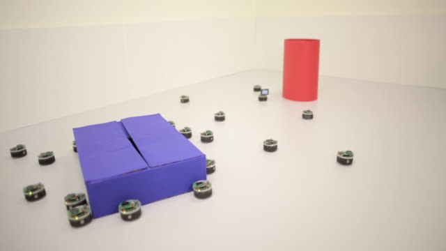 Shot of robots at the University of Sheffield, programmed to display swarming behaviour.