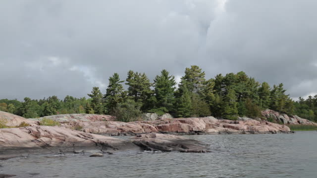 rws pov shot of rocky island / killarney, ontario, canada - igneous stock videos & royalty-free footage