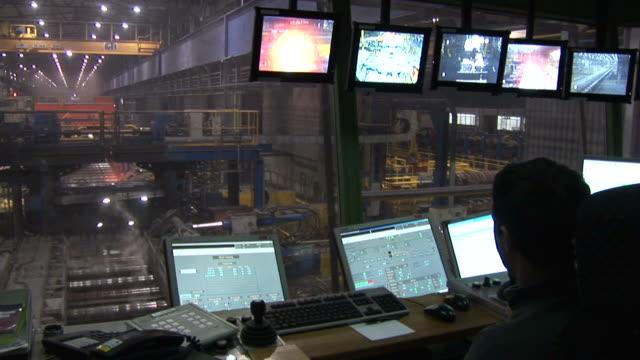 MS Shot of rolling mill at steel mill / Esch sur Alzette, Esch, Luxembourg