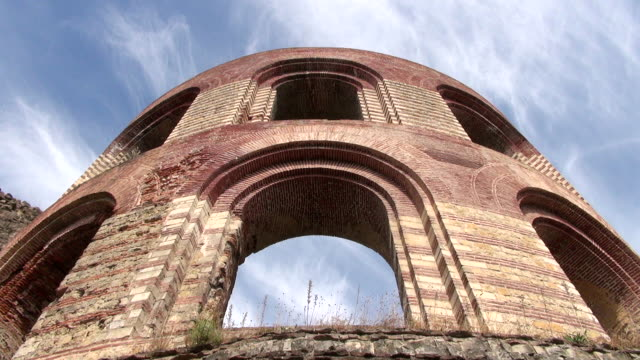ms shot of romain ruins of kaiserthermen / trier, rhineland palatinate, germany - arch architectural feature stock videos and b-roll footage