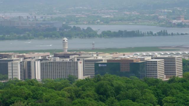 """WS ZO AERIAL Shot of Ronald Reagan Washington National Airport / Washington DC, United States"""