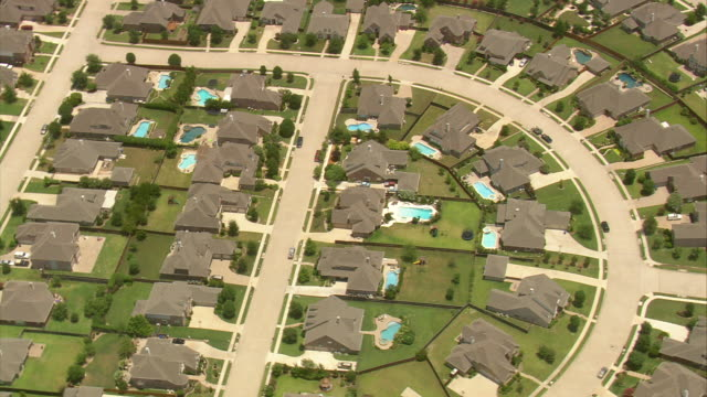 MS AERIAL ZO Shot of row houses among downtown Dallas / Texas, United States