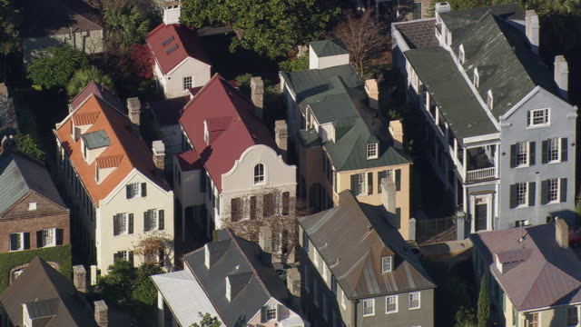 MS AERIAL Shot of row houses at Charleston / South Carolina, United States