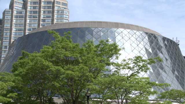 ms pan shot of   roy thomson hall / toronto, ontario, canada - concert hall stock videos and b-roll footage