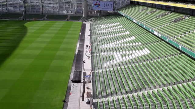 ws pan shot of rugby aviva stadium / dublin, republic of ireland, ireland - dublin republic of ireland stock videos & royalty-free footage
