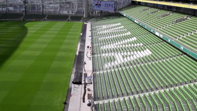 ws pan shot of rugby aviva stadium / dublin, republic of ireland, ireland - seat stock videos & royalty-free footage