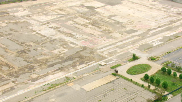CU AERIAL ZO Shot of ruins and remains of Buick City / Flint, Michigan, United States