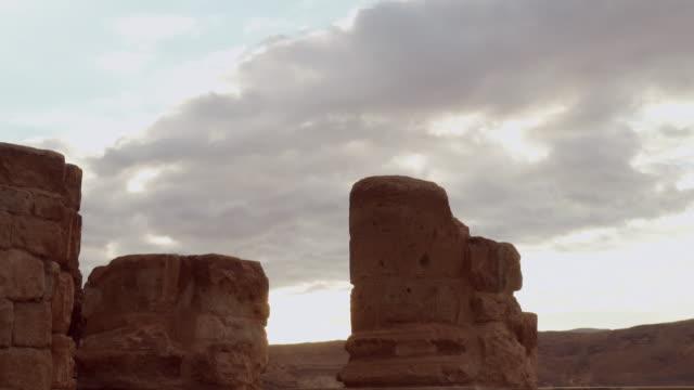 ms shot of ruins at masada in negev desert / israel - negev stock videos & royalty-free footage