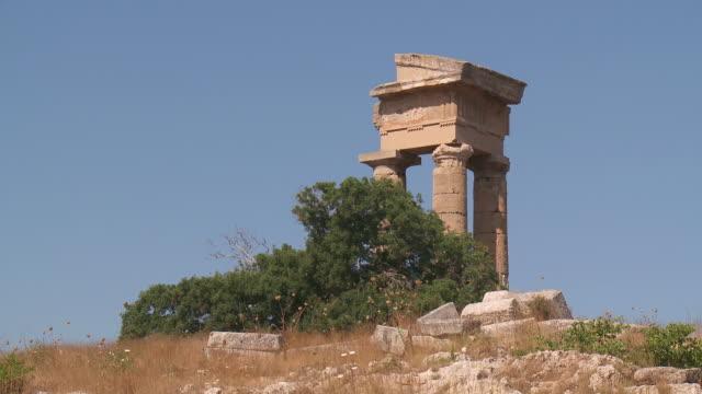 MS LA Shot of Ruins of Temple Apollo Pythios Acropolis of Rhodes / Rhodes, Dodecanese islands, Greece