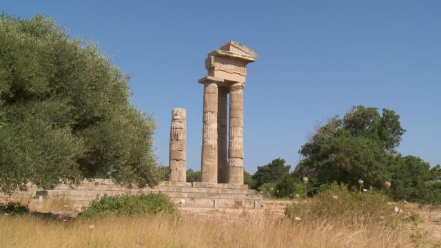 ms la shot of ruins of temple apollo pythios acropolis of rhodes / rhodes, dodecanese islands, greece - rhodes dodecanese islands stock videos & royalty-free footage
