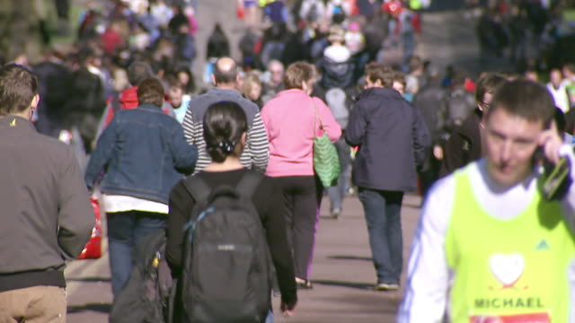 ms shot of runners walking to start of london marathon / london, united kingdom  - london marathon stock videos & royalty-free footage