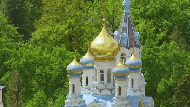 cu aerial shot of russisch orthodox kirche st. peter und paul / dubrovnik, dubrovnik neretva county, croatia - kirche stock videos and b-roll footage