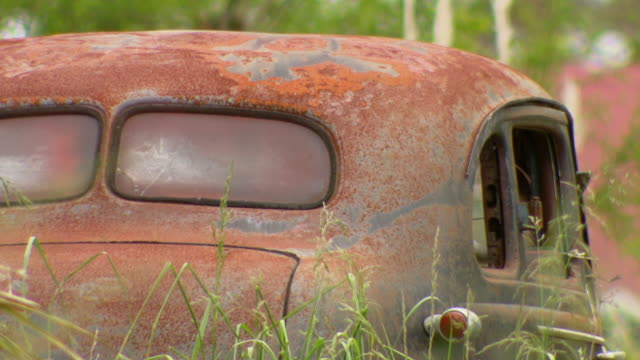 CU Shot of rusty car / New Zealand
