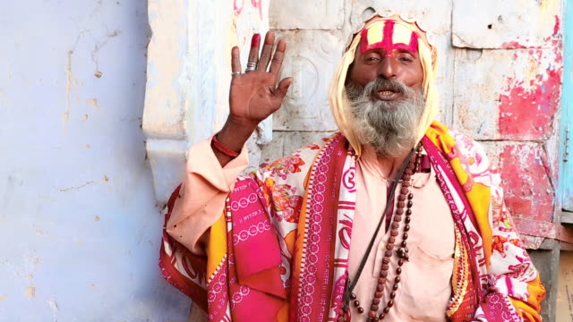MS Shot of sadhu giving blessing / Pushkar, Rajasthan, India