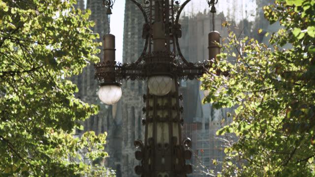 MS TU Shot of sagrada familia cranes and towers / Barcelona, Catalunya, Spain