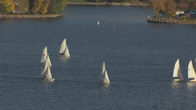 MS AERIAL ZI Shot of sailboats in Lake Minnetonka / Minnesota, United States