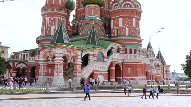 ms shot of saint basil / moscow, russia - st. basil's cathedral stock videos and b-roll footage