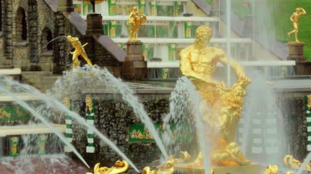 MS Shot of samson fountain in Peterhof palace Summer Garden / St. Petersburg, Russia
