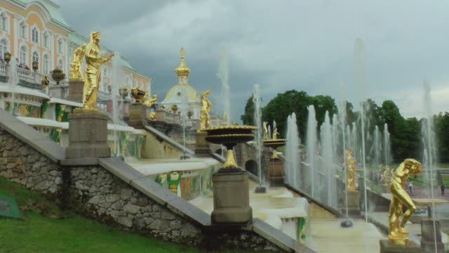 MS Shot of samson fountain with Sea Channel in Peterhof palace Summer Garden / St. Petersburg, Russia