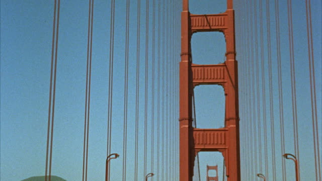 ws shot of san francisco street with cable cars / san francisco, california, united states - golden gate bridge stock-videos und b-roll-filmmaterial