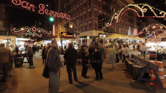 ms t/l shot of san gennaro feast / new york, united states - 30 seconds or greater stock videos & royalty-free footage