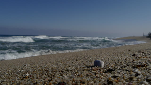 shot of sand beach and horizon over water at the east sea in the winter - pebble stock videos & royalty-free footage