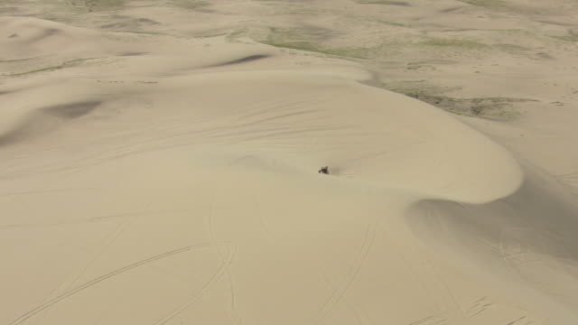 ms aerial zi ts shot of sand dunes and man driving all terrain vehicle in sand dune at sand mountain in churchill county / nevada, united states - nevada stock videos & royalty-free footage