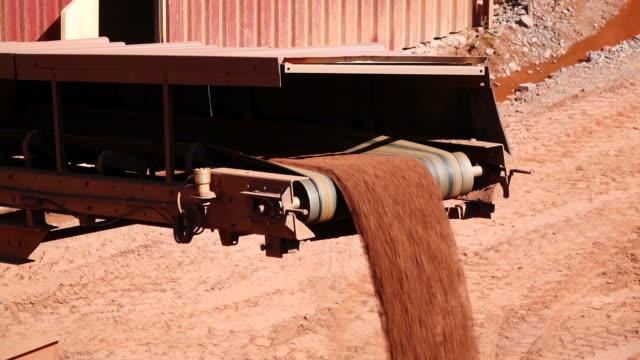 CU Shot of Sand unloading in crushing machine at quarry / Taben Rodt, Rhineland Palatinate, Germany
