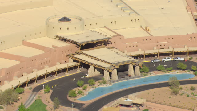 MS AERIAL ZO Shot of Sandia Resort and Casino with parking lot / Albuquerque, New Mexico, United States