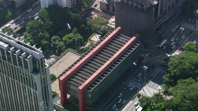CU AERIAL ZO TS Shot of Sao Paulo Art Museum in city / Sao Paulo, Brazil