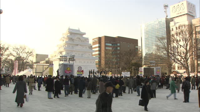 ms shot of sapporo snow festival / sapporo, hokkaido, japan - schneefestival stock-videos und b-roll-filmmaterial