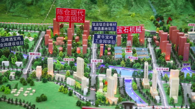 CU Shot of Scale model of Baoji city in consulting meeting for investment / Xi'an, shaanxi, China