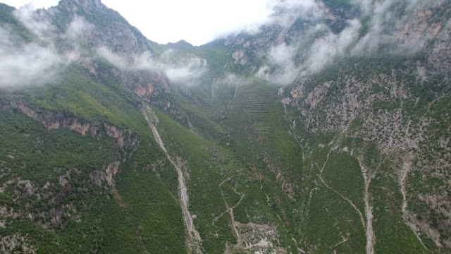 AERIAL shot of scenery in Gansu mountain area/Gansu,China