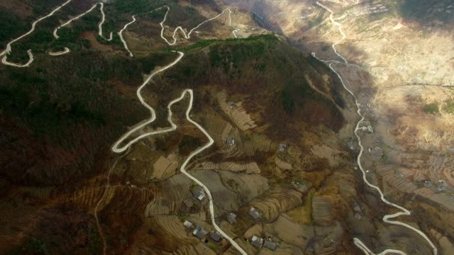 aerial shot of scenery in western sichuan/sichuan,china - country road stock videos & royalty-free footage