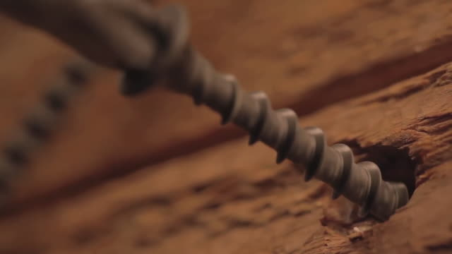 CU Shot of Screw being screwing into wood / Los Angeles, California, United States