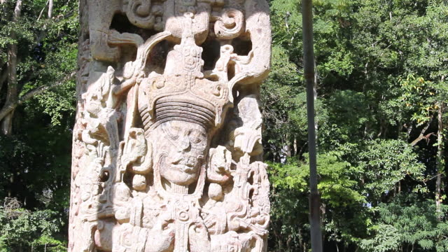 CU Shot of Sculpture / Copan, Honduras