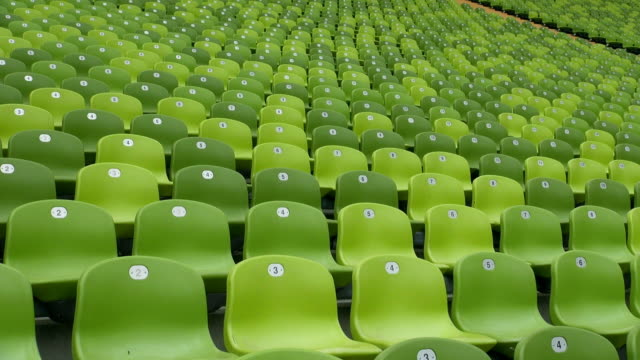ms shot of seating chairs of olympic stadium munich / munich, bavaria, germany - chair stock videos & royalty-free footage