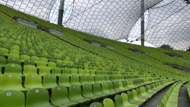 WS Shot of seating chairs of Olympic Stadium Munich / Munich, Bavaria, Germany