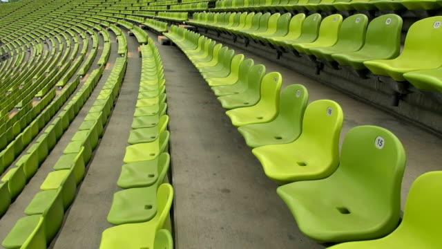 MS Shot of seating chairs of Olympic Stadium Munich / Munich, Bavaria, Germany