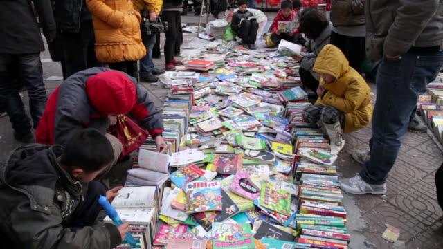 MS Shot of second hand book market / xi'an, shaanxi, china