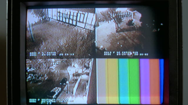 CU Shot of security cameras one monitor with four different views