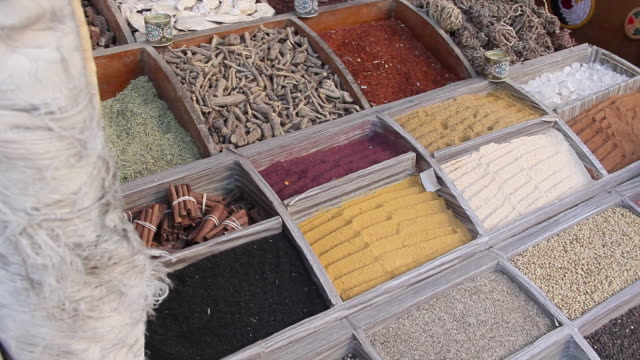 MS PAN Shot of Selection of spices in wooden boxes / Aswan, Egypt
