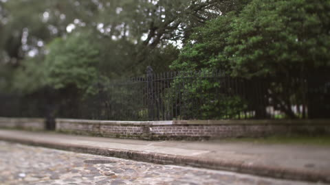 ms td shot of selective focus cobblestone street and fence / charleston, south carolina, united states  - cobblestone stock videos & royalty-free footage