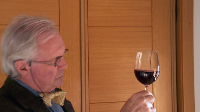 MS Shot of senior male wine tasting / Estepona,Espana, Malaga, Spain