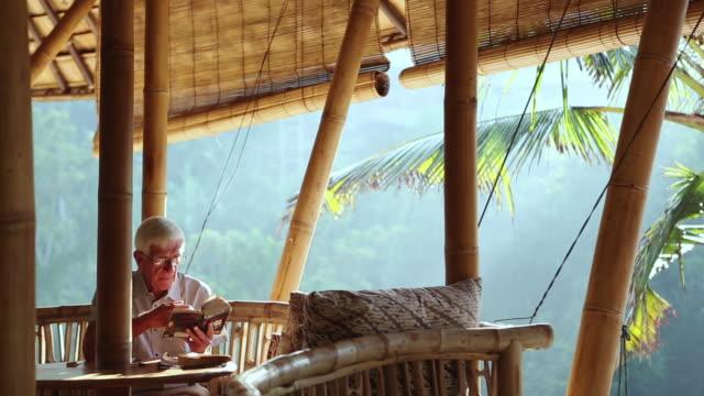 vídeos de stock e filmes b-roll de ms pan td shot of senior man reading on bamboo porch / ubud, bali, indonesia - cabelo branco